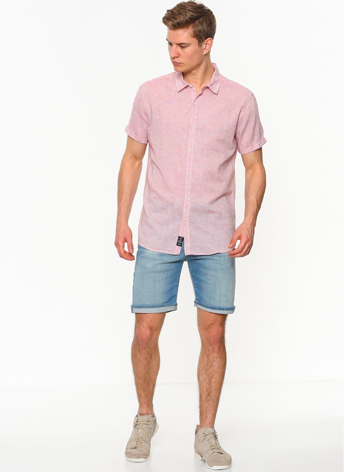 Mavi Jeans Erkek Kısa Kollu Pembe Gömlek