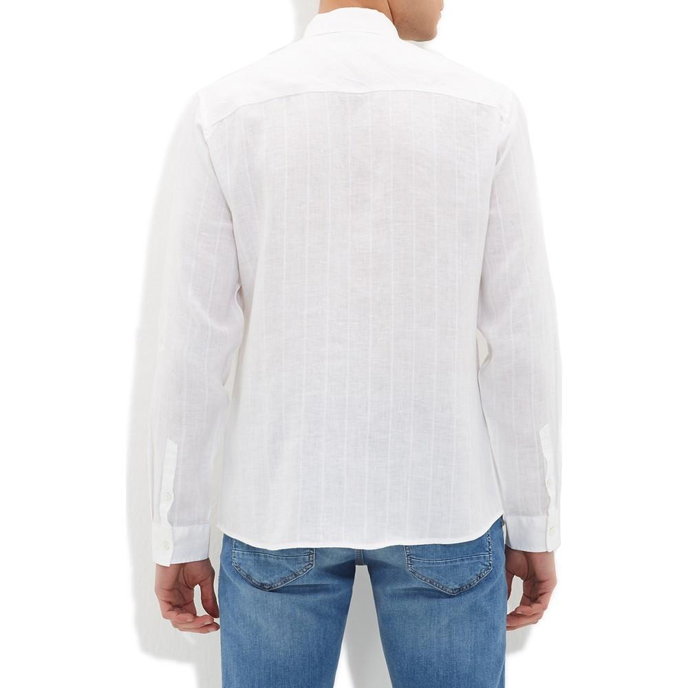 Mavi Jeans Erkek Beyaz Keten Gömlek