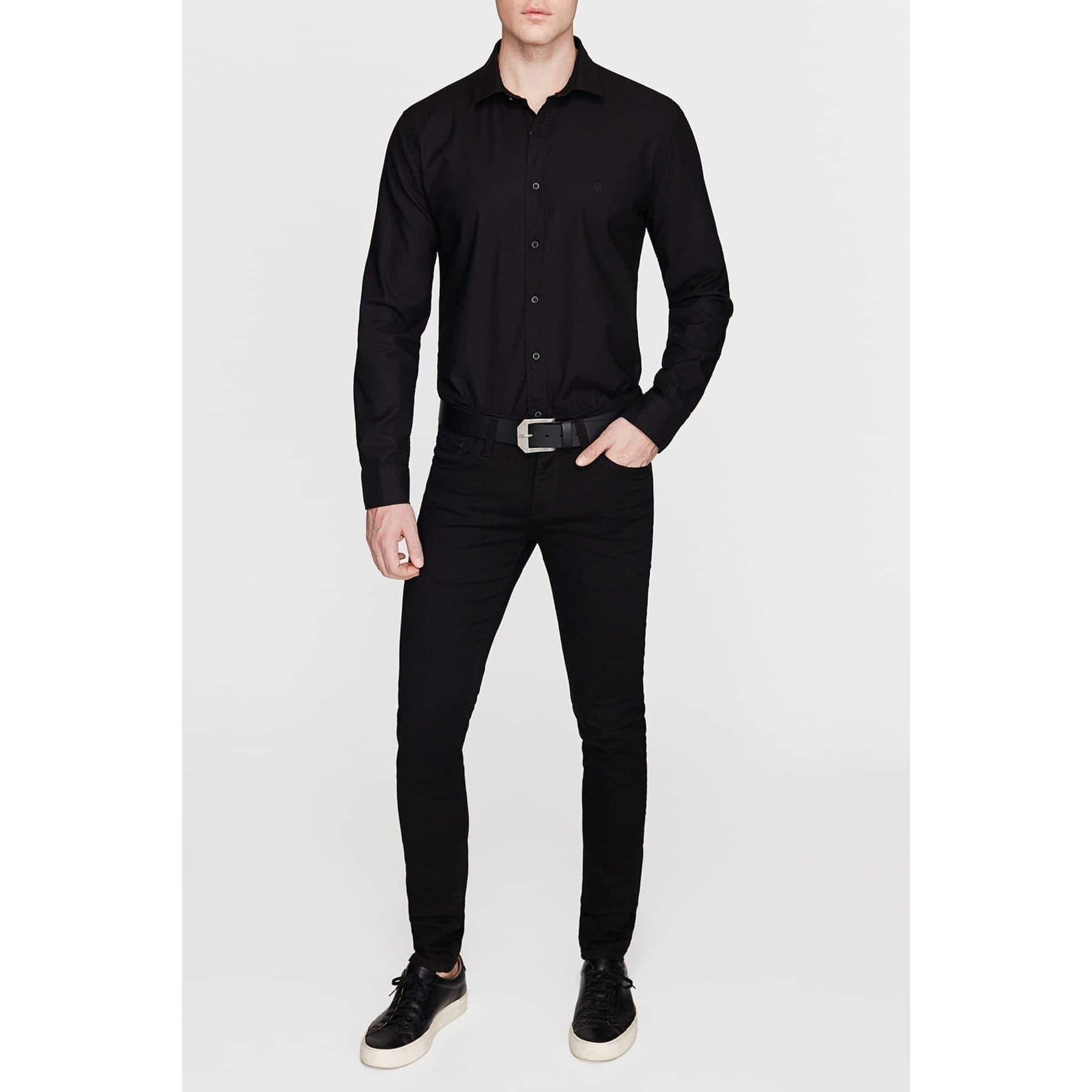 Erkek Cepsiz Siyah Gömlek (%100 Pamuk)