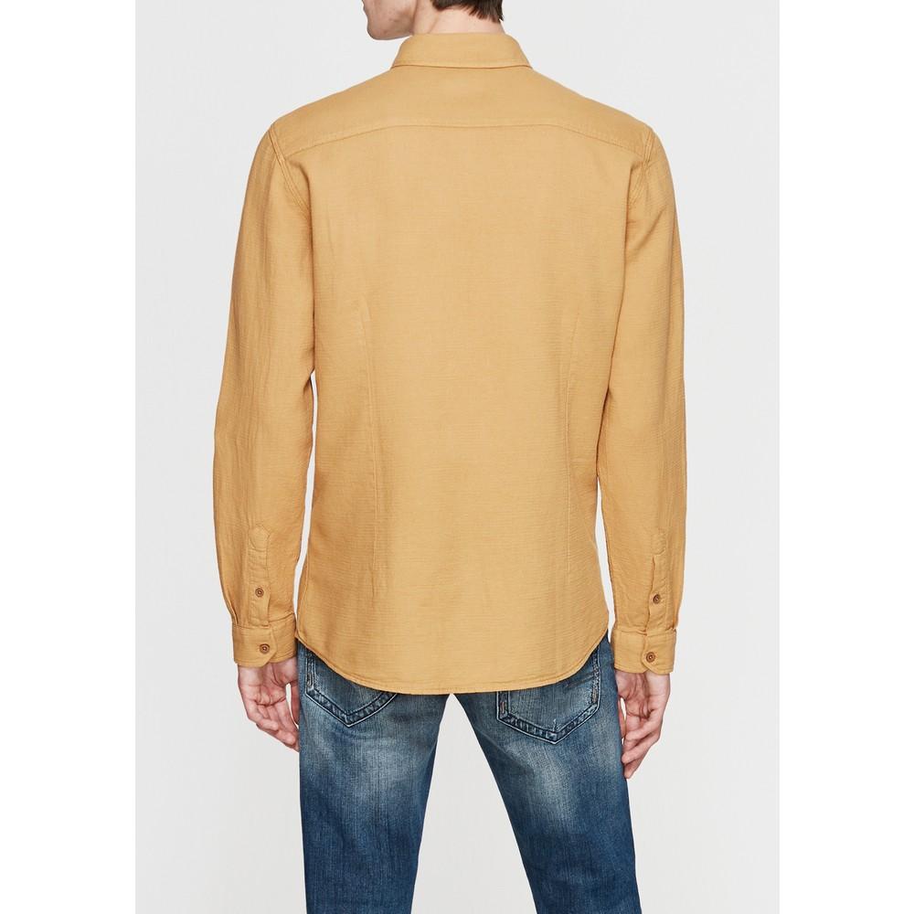 Çift Cepli Erkek Sarı Uzun Kollu Gömlek
