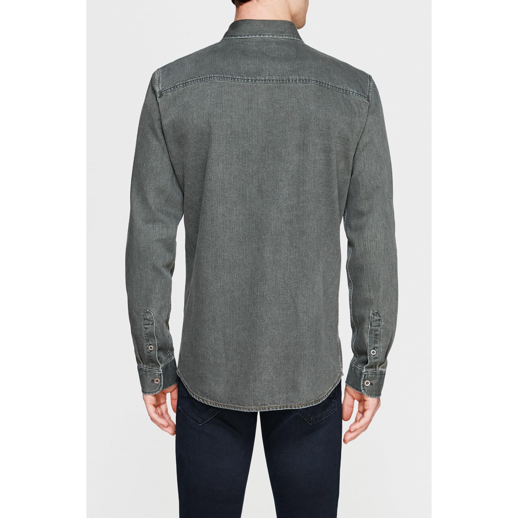 Çift Cepli Erkek Uzun Kollu Haki Gömlek