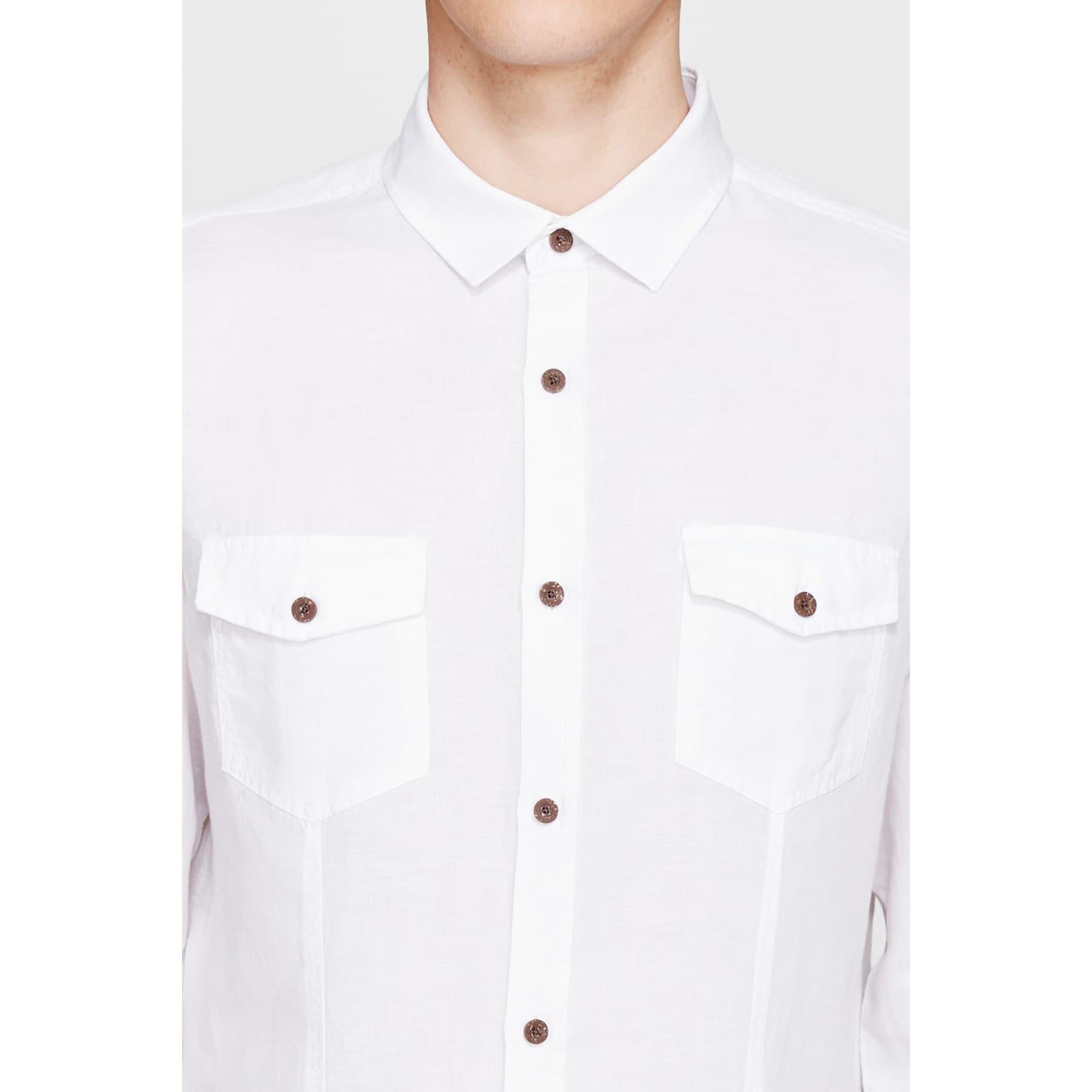 Çift Cepli Erkek Beyaz Keten Gömlek