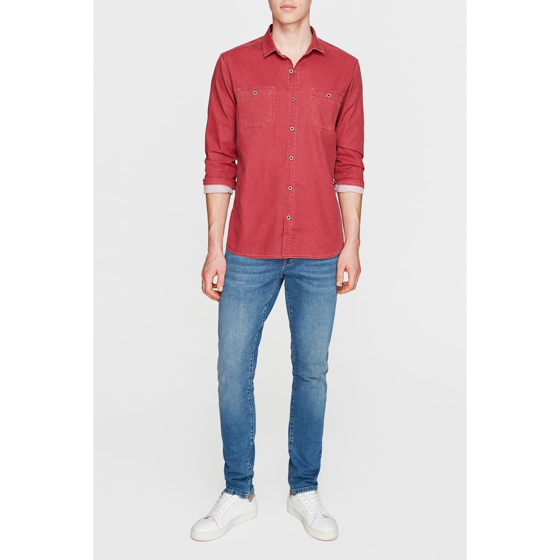 Çift Cepli Erkek %100 Pamuk Kırmızı Gömlek
