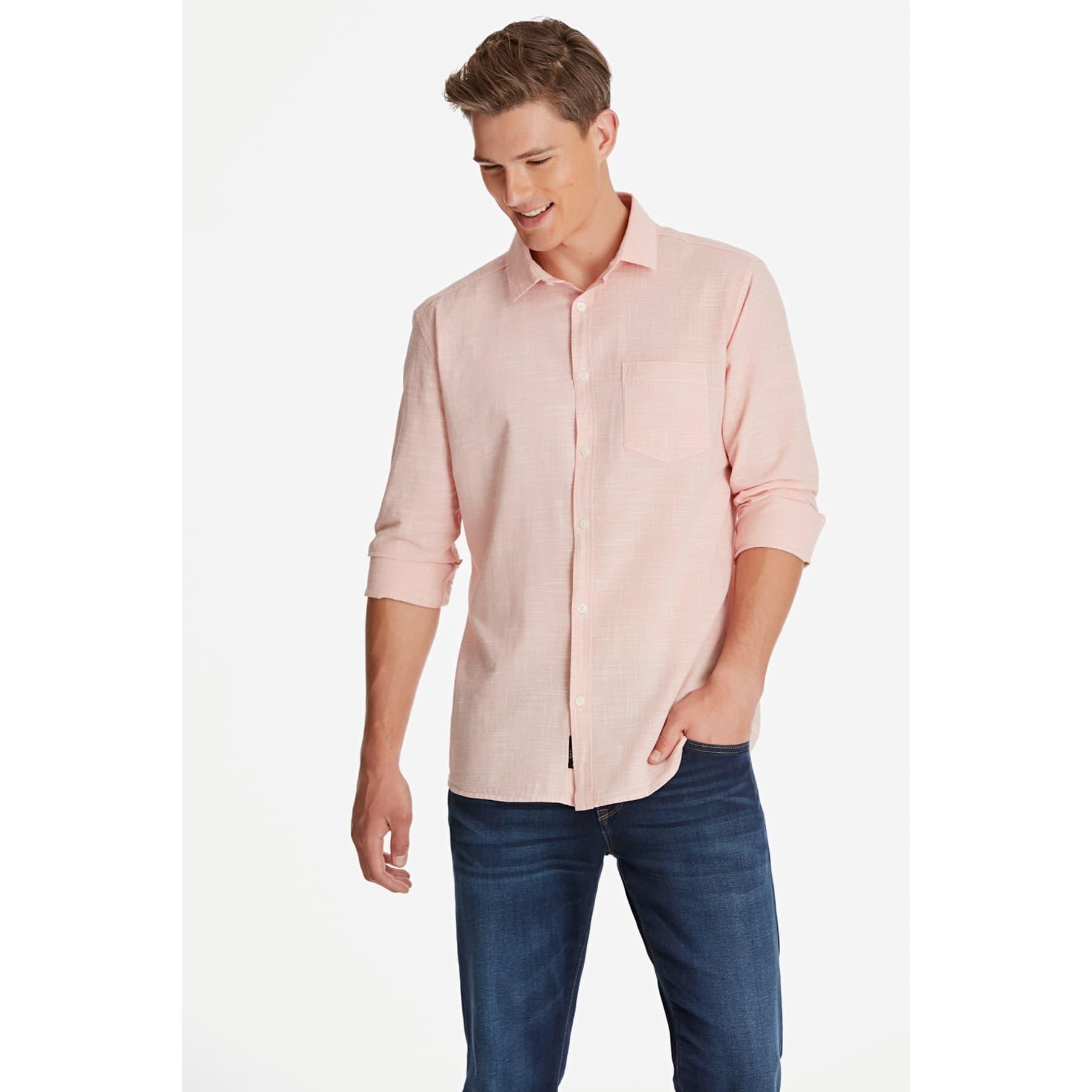 Tek Cep Gömlek Canlı Gül Kurusu