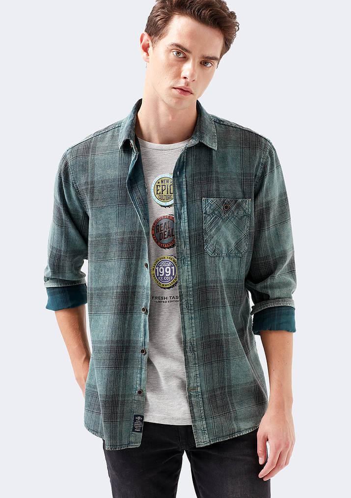 Mavi Jeans Erkek Kareli Yeşil Gömlek