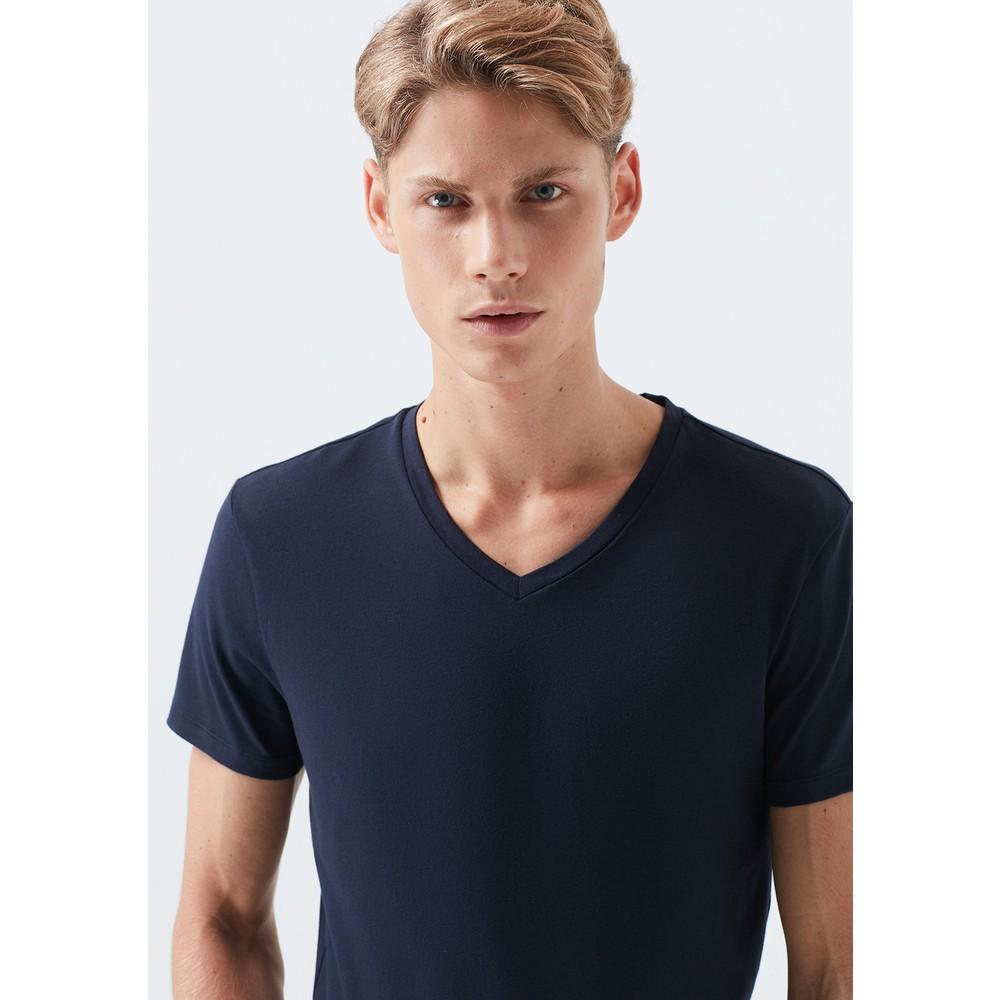 V Yaka Streç Lacivert Erkek Basic Tişört