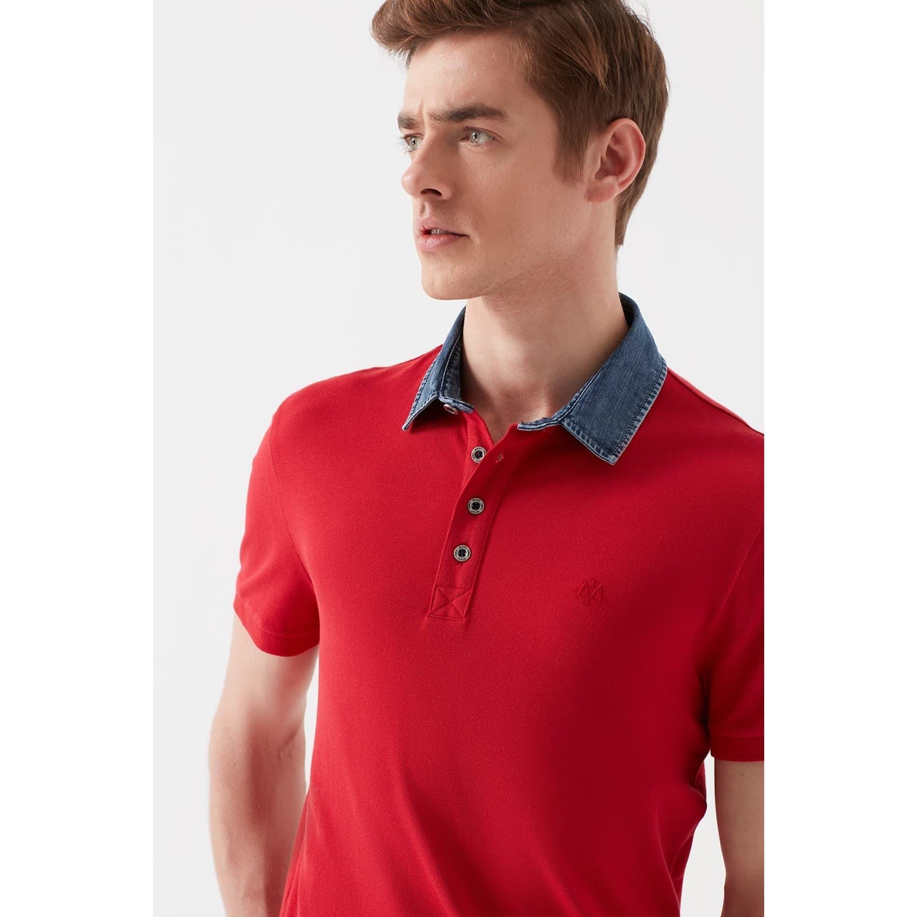 Mavi Jeans Denim Yaka Detaylı Kırmızı Polo Tişört