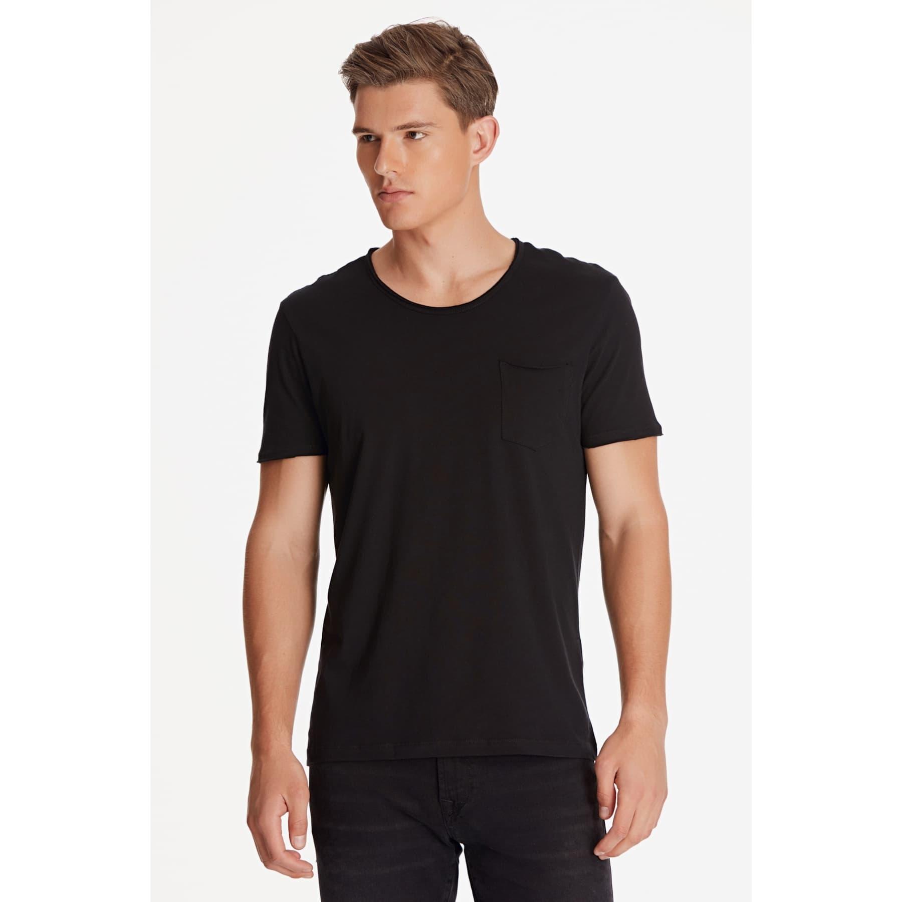 Mavi Erkek Düz Siyah Basic Tişört