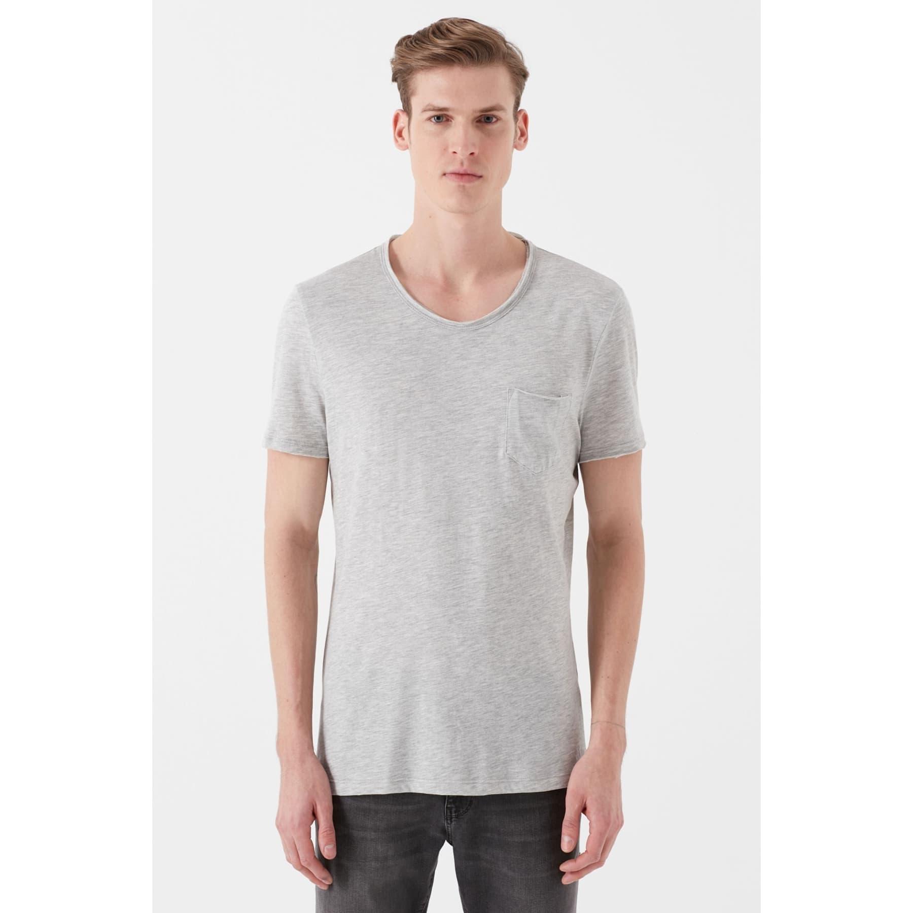 Mavi Erkek Basic Düz Gri Günlük Tişört