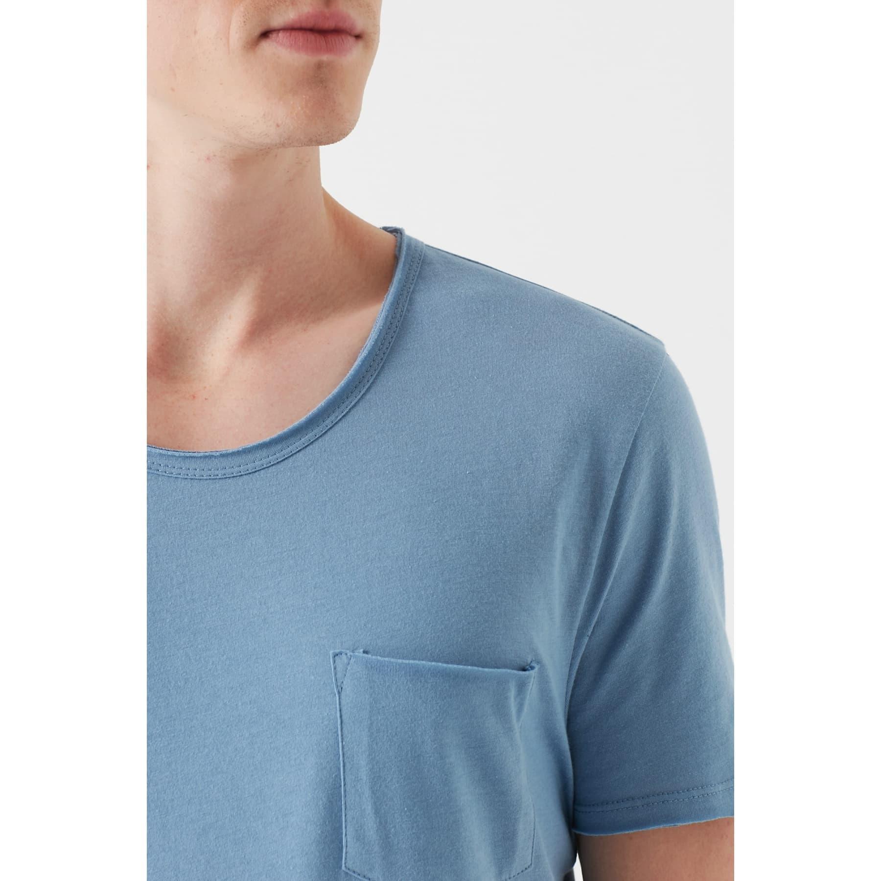 Mavi Erkek Basic Düz Açık Mavi Tişört