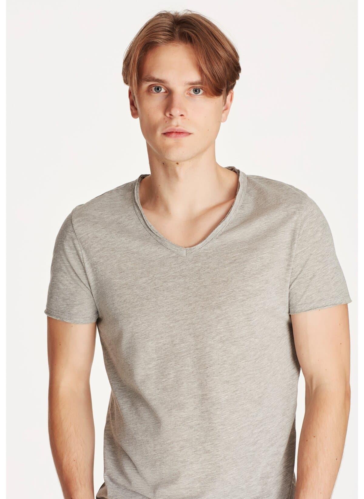 V Yaka Tişört Açık Kahverengi