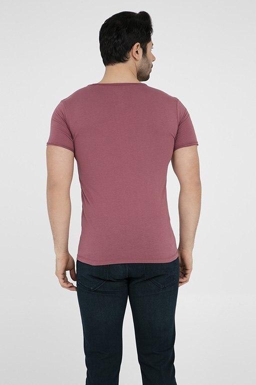 V Yaka Tişört Yanık Kırmızı