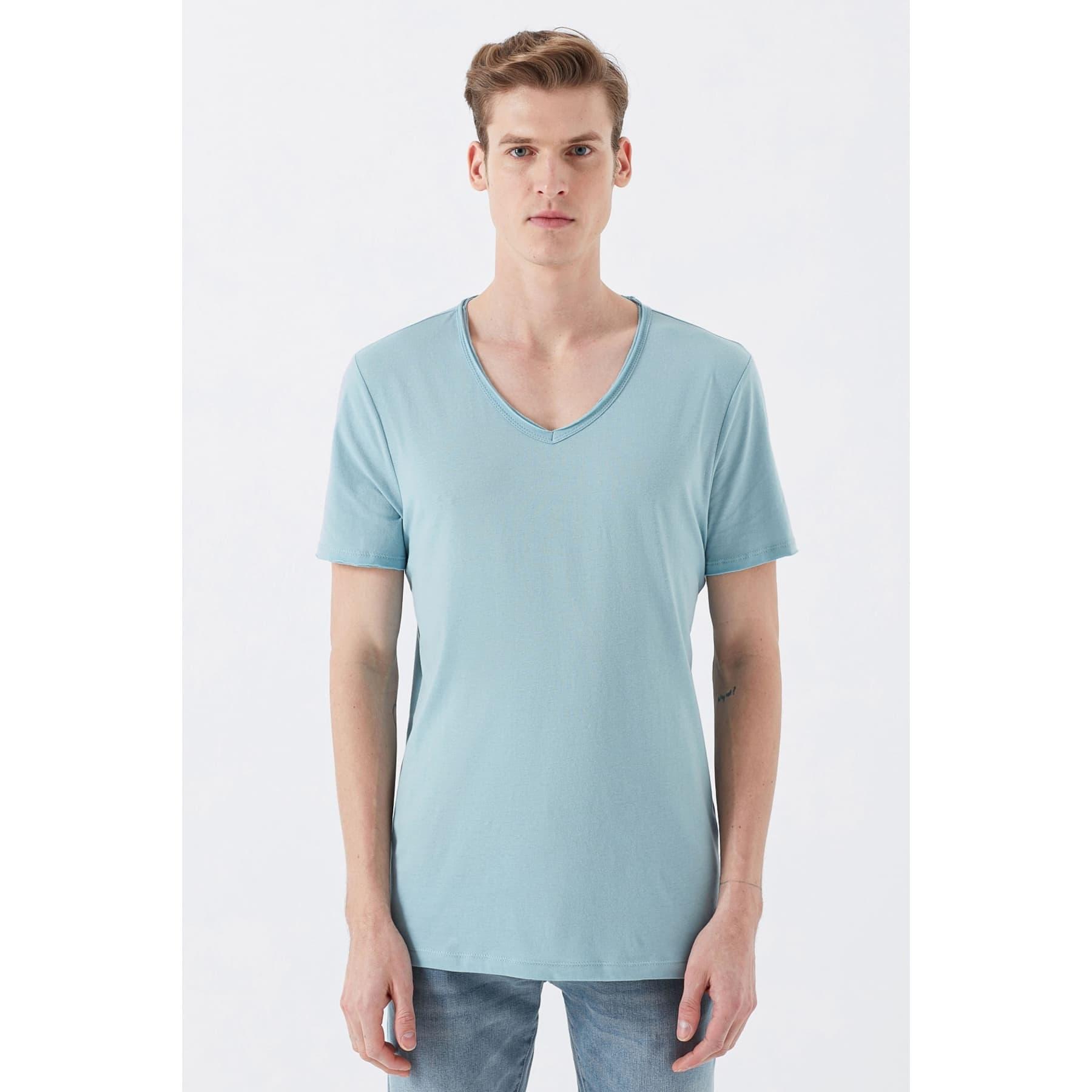Mavi Jeans V Yaka Erkek Mavi Basic Tişört