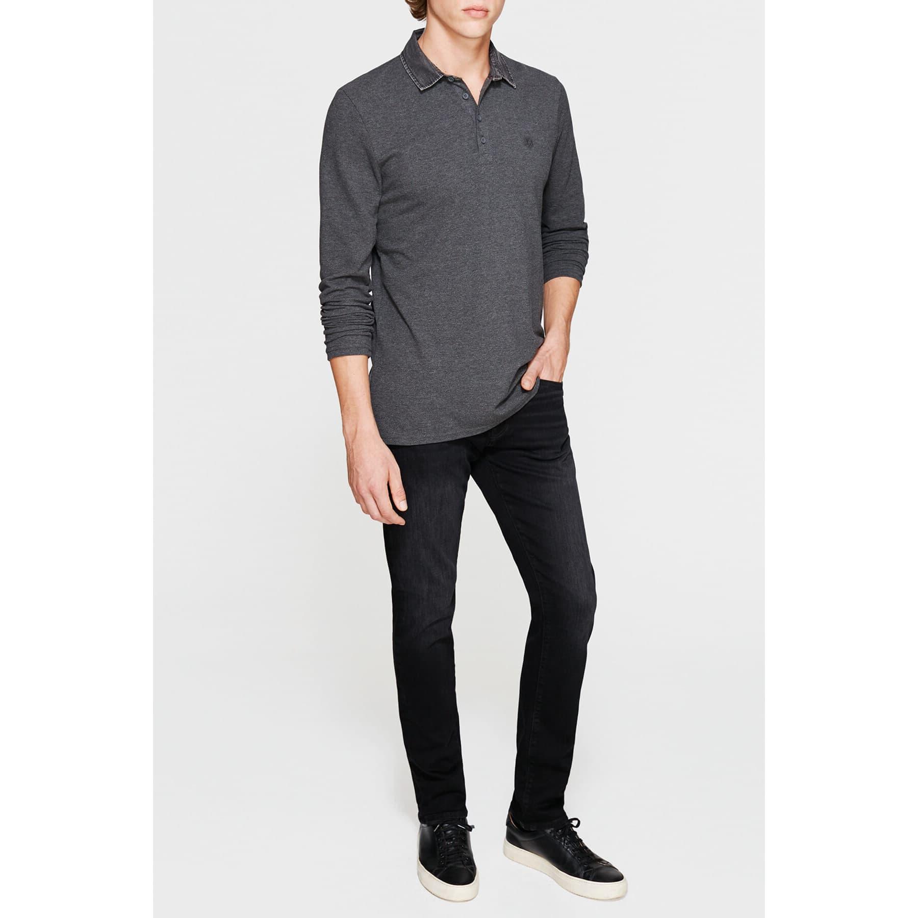 Long Sleeve Polo Dark Grey Melange