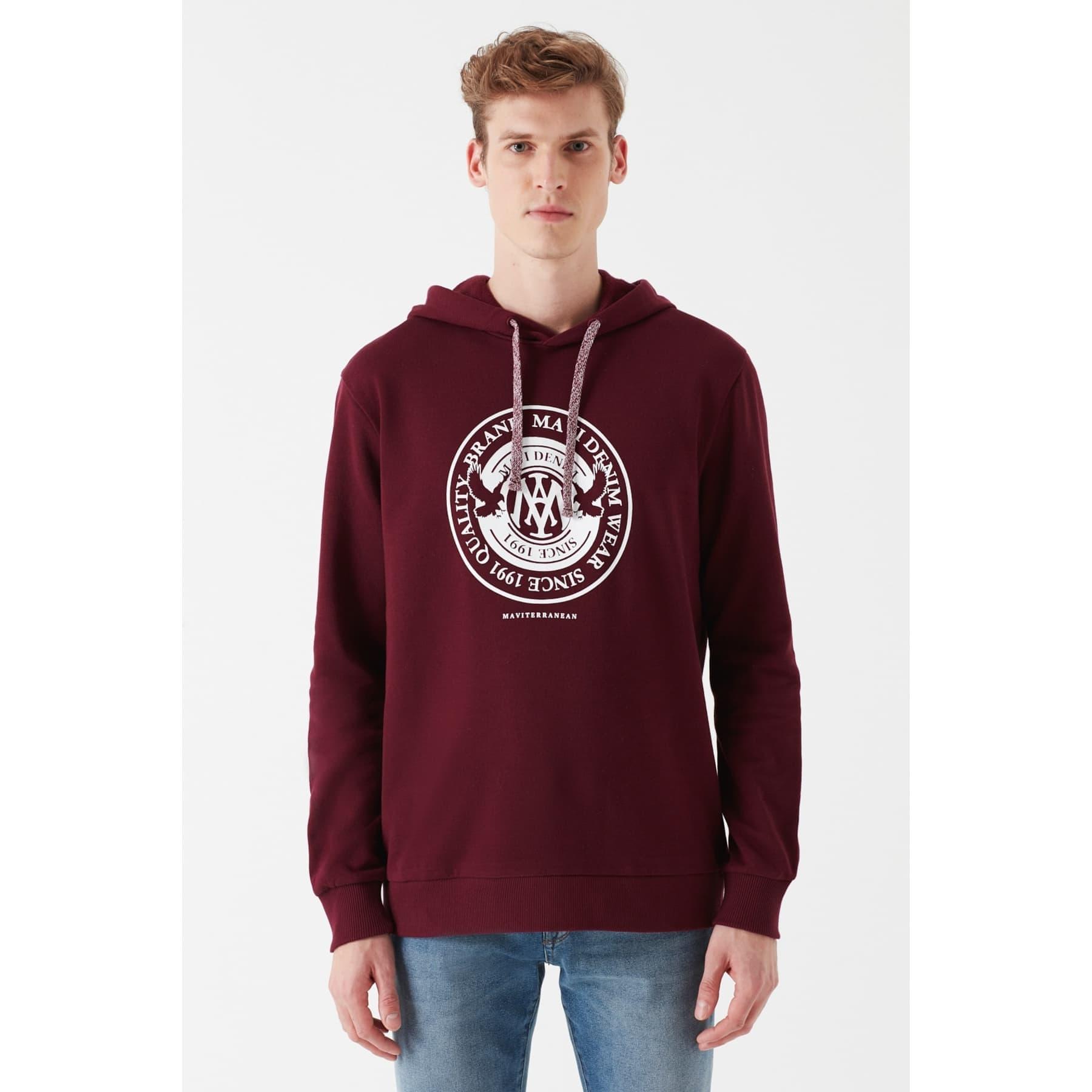 Mühür Logo Baskılı Kapüşonlu Bordo Erkek Sweatshirt