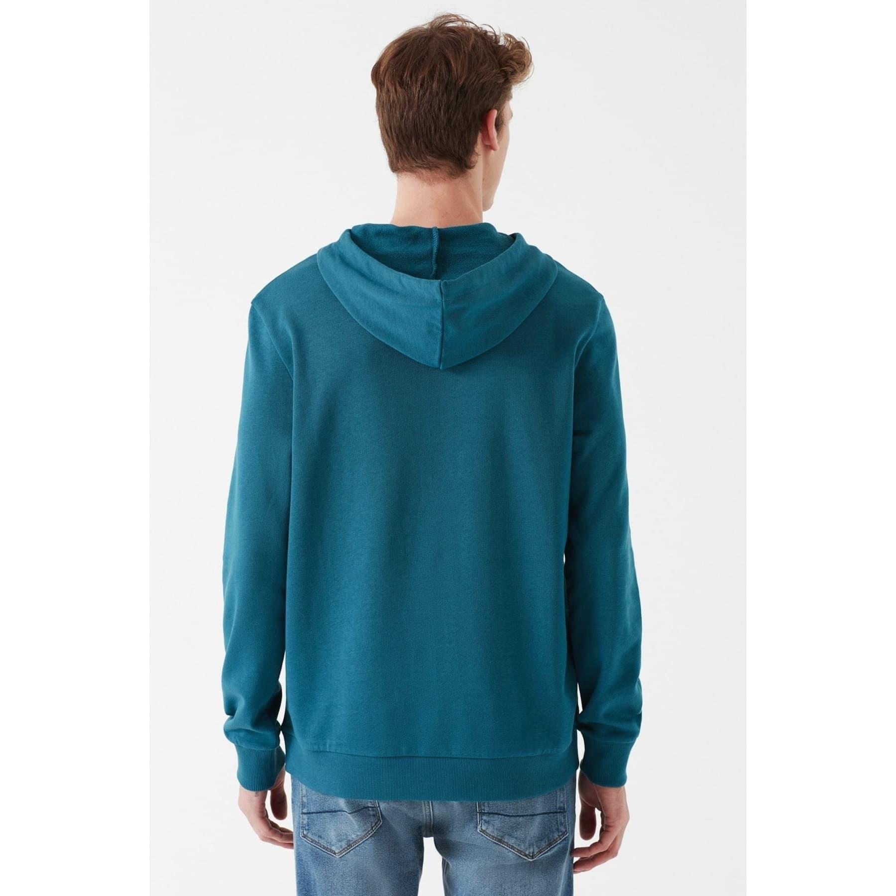 Mavi Mühür Logo Baskılı Kapüşonlu Erkek Yeşil Sweatshirt