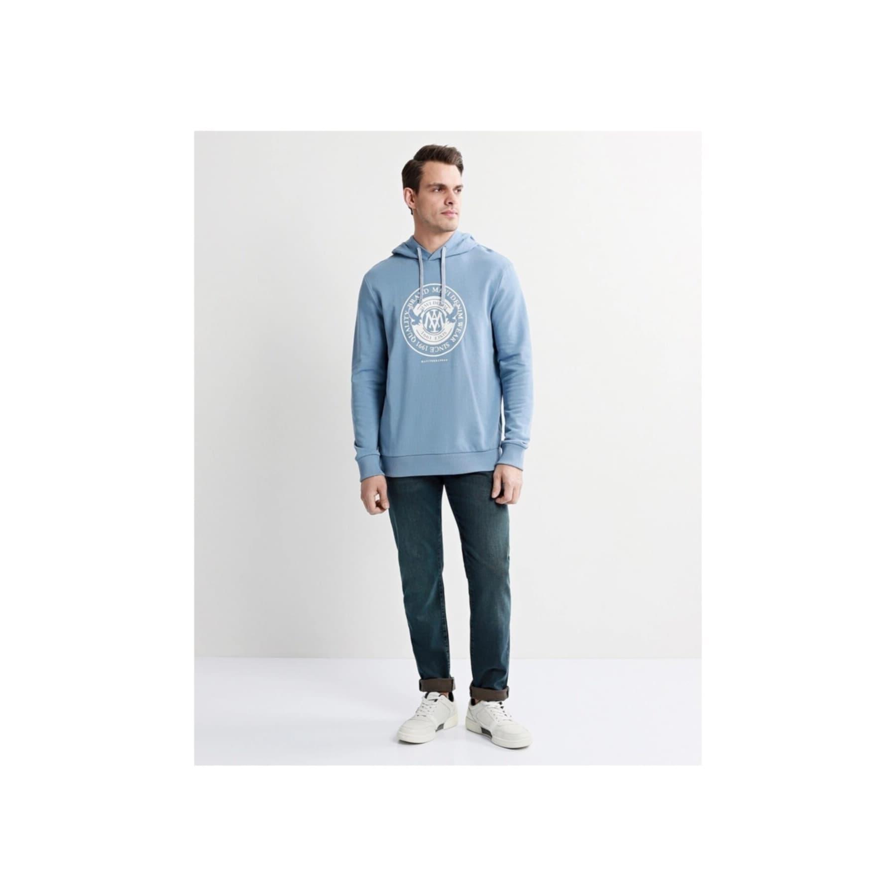 Baskılı Erkek Açık Mavi Sweatshirt (065169-30709)