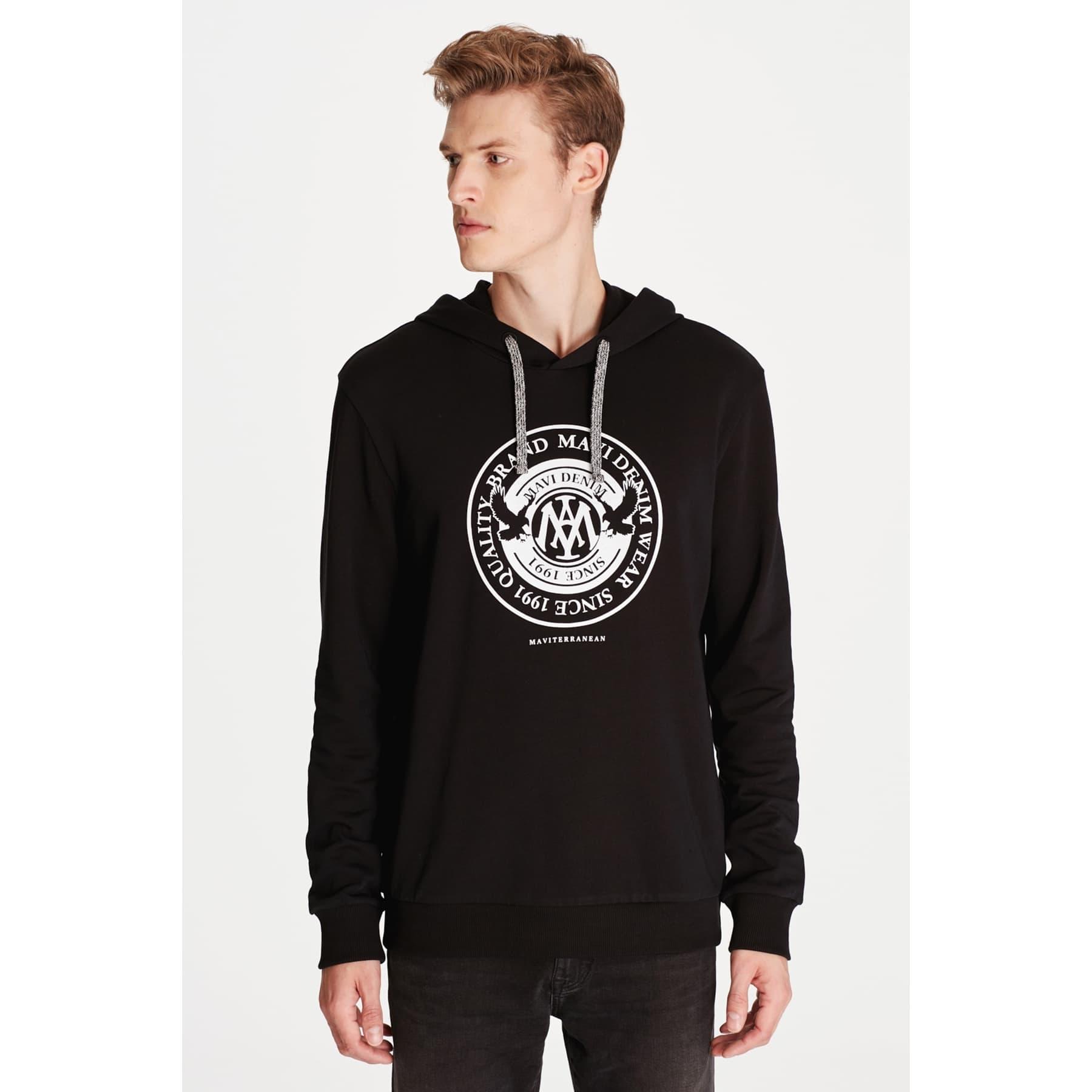 Mühür Logo Baskılı Kapüşonlu Siyah Sweatshirt