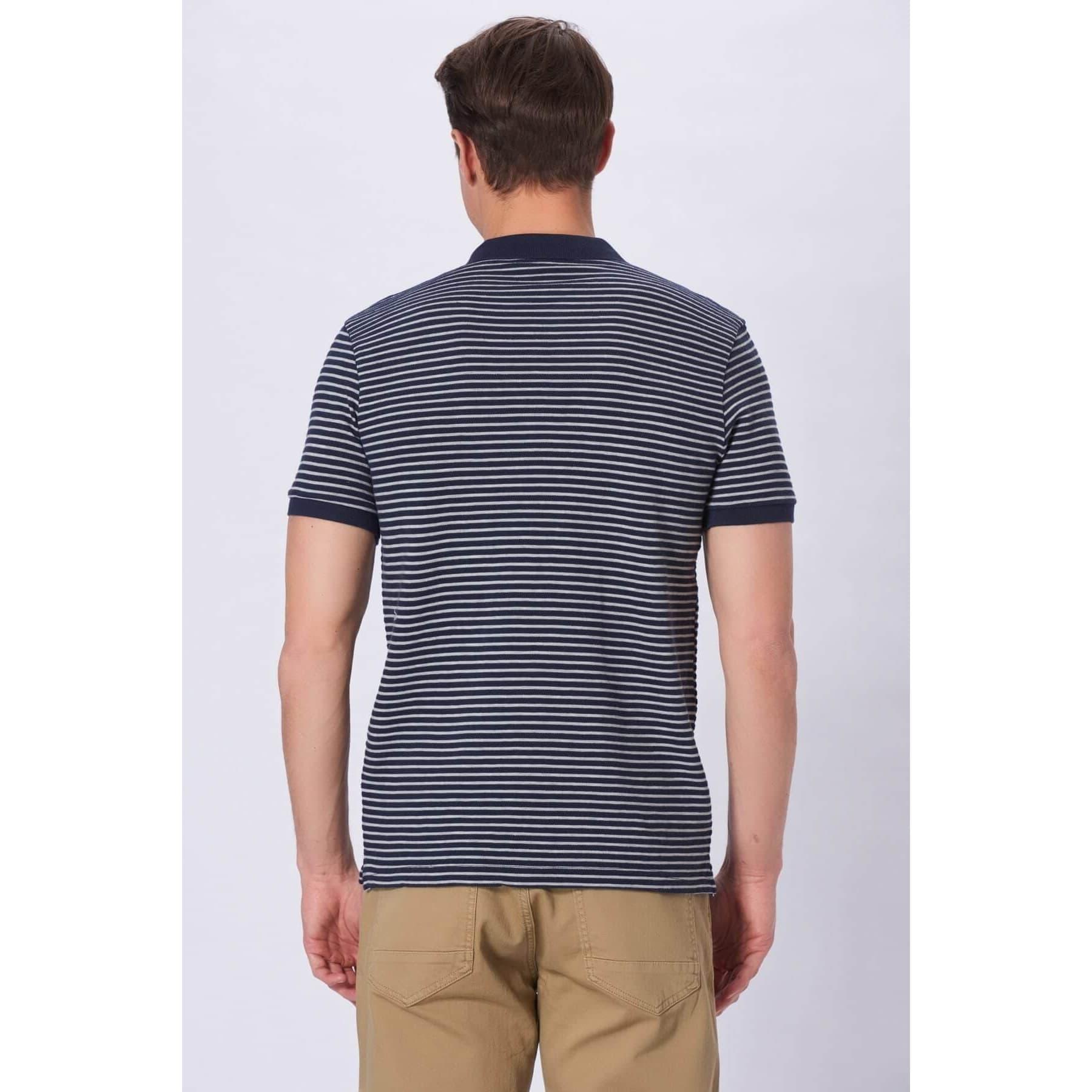 Polo Yaka Beyaz Çizgili Erkek Lacivert Tişört