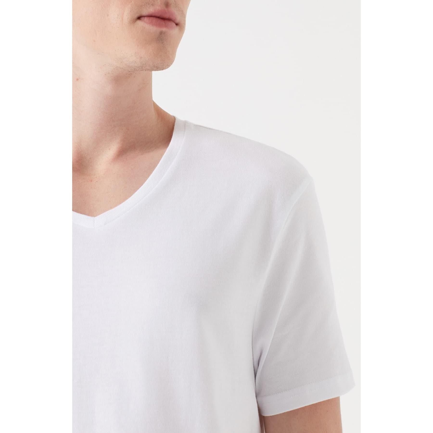 Mavi Jeans V Yaka Erkek Beyaz Basic Tişört
