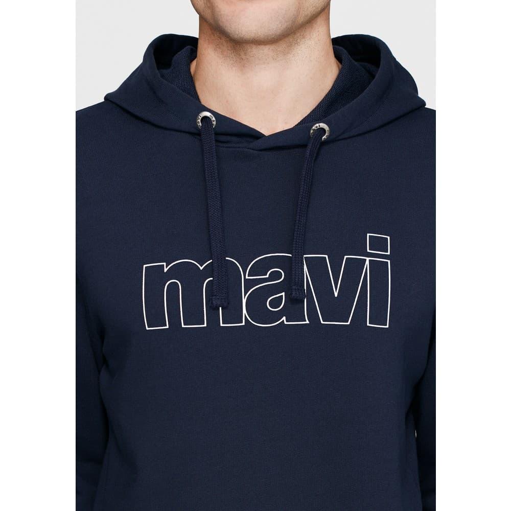Logo Baskılı Kapüşonlu Lacivert Sweatshirt (065606-28417)