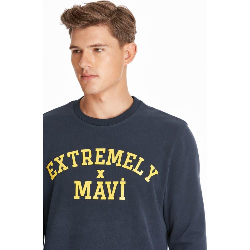 Mavi Jeans Baskılı Lacivert Sweatshirt