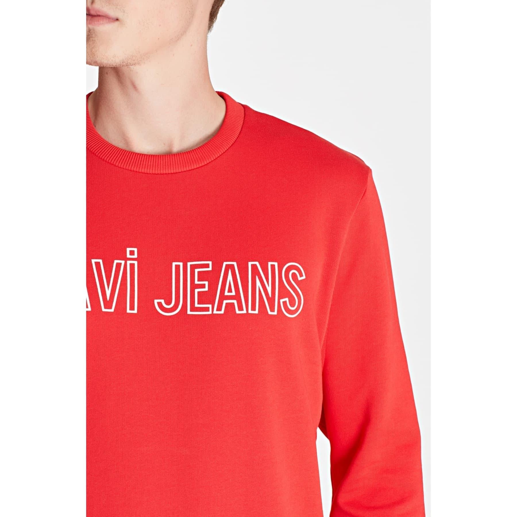 Mavi Jeans Logo Baskılı Erkek Kırmızı Sweatshirt