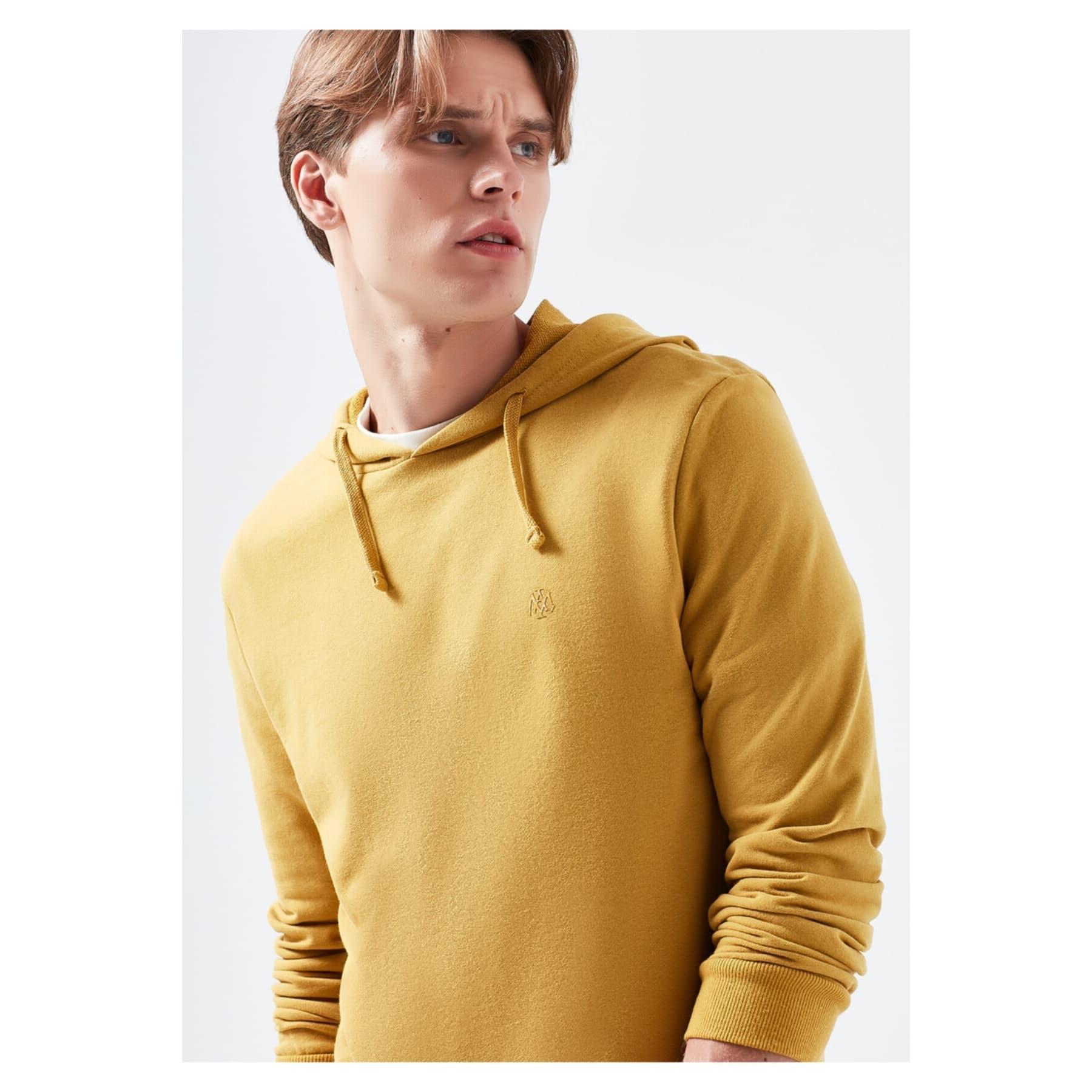 Mavi Jeans Kapüşonlu Erkek Sarı Sweatshirt
