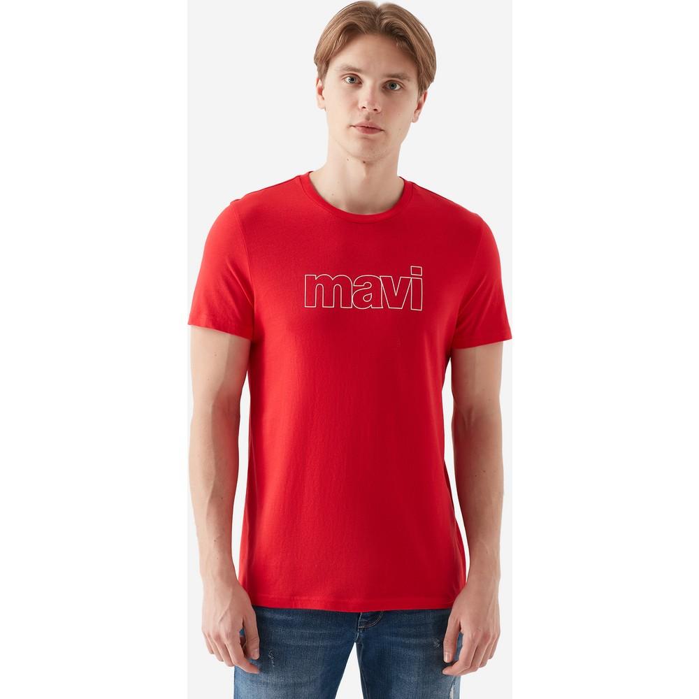 Mavi Logo Tişört Canlı Kırmızı
