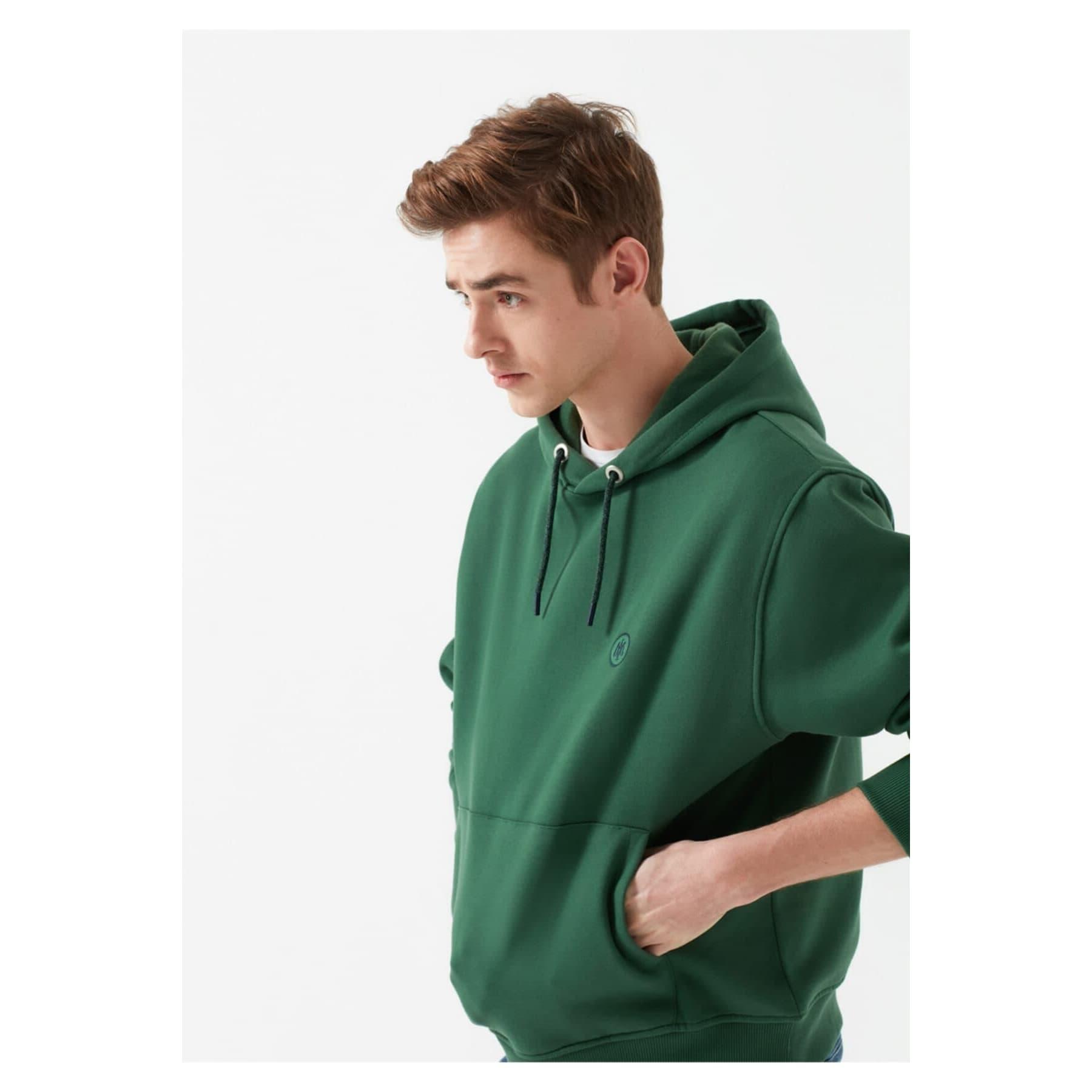 Logolu Erkek Yeşil Kapüşonlu Sweatshirt (065809-30208)