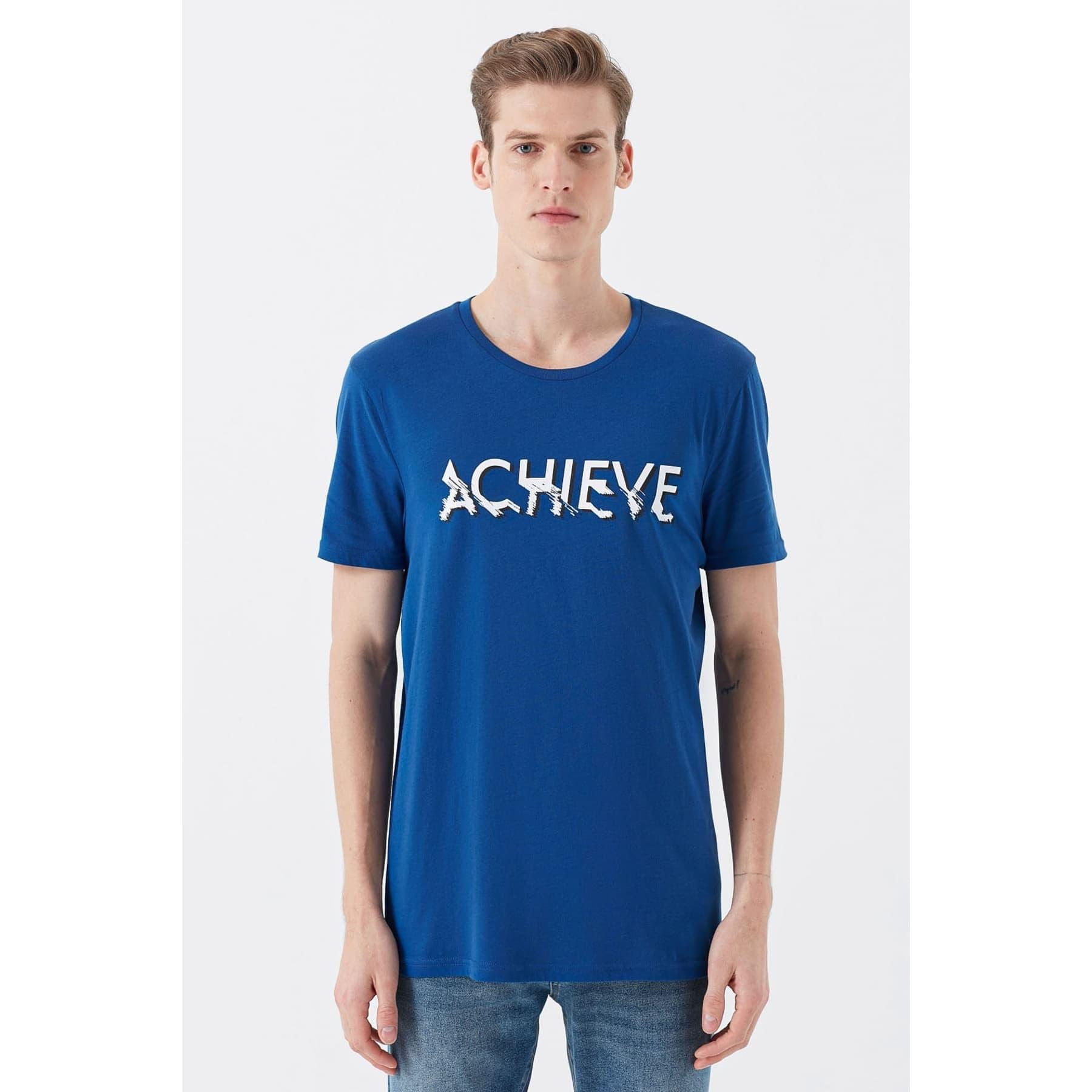 Achieve Baskılı Koyu Mavi Erkek T-Shirt
