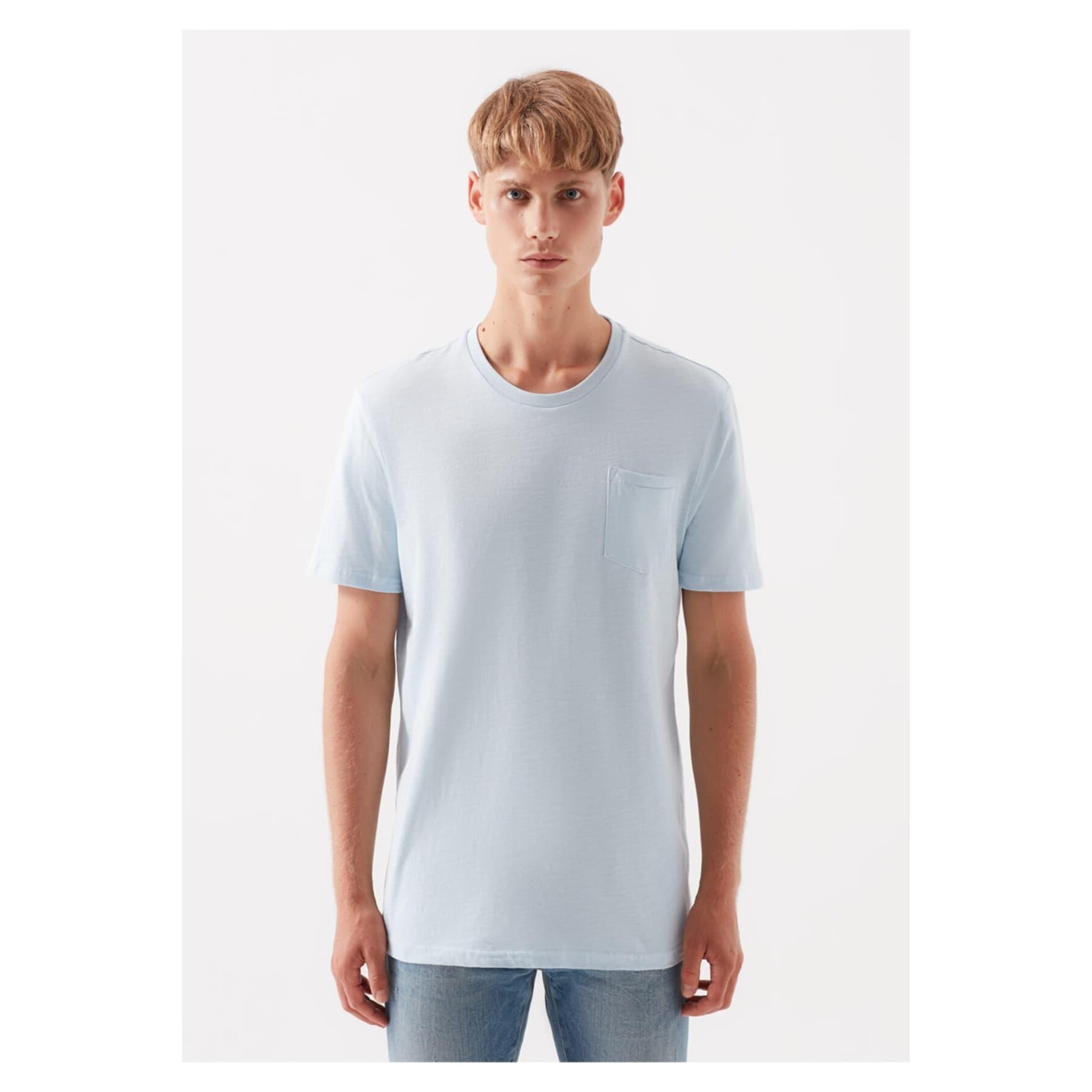 Basic Bisiklet Yaka Erkek Mavi Tişört