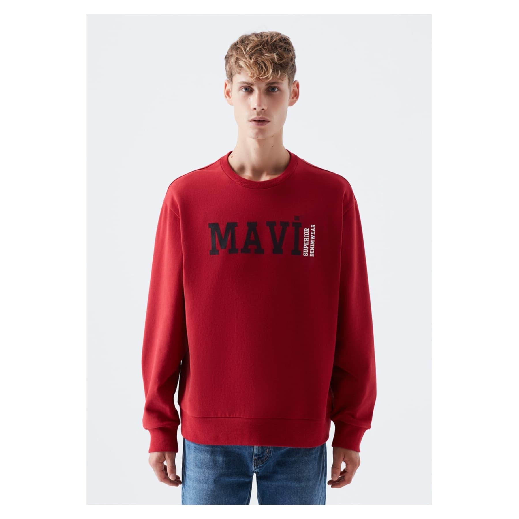 Mavi Logo Baskılı Erkek Kırmızı Sweatshirt