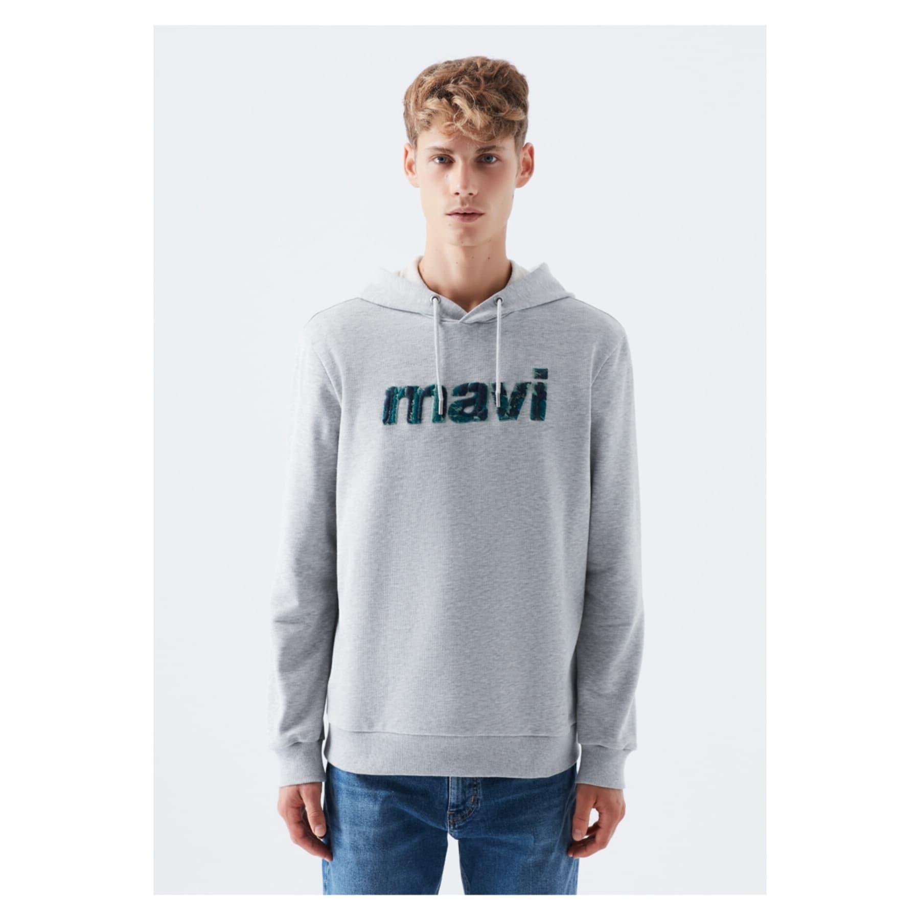 Mavi Jeans Logo Baskılı Erkek Gri Sweatshirt