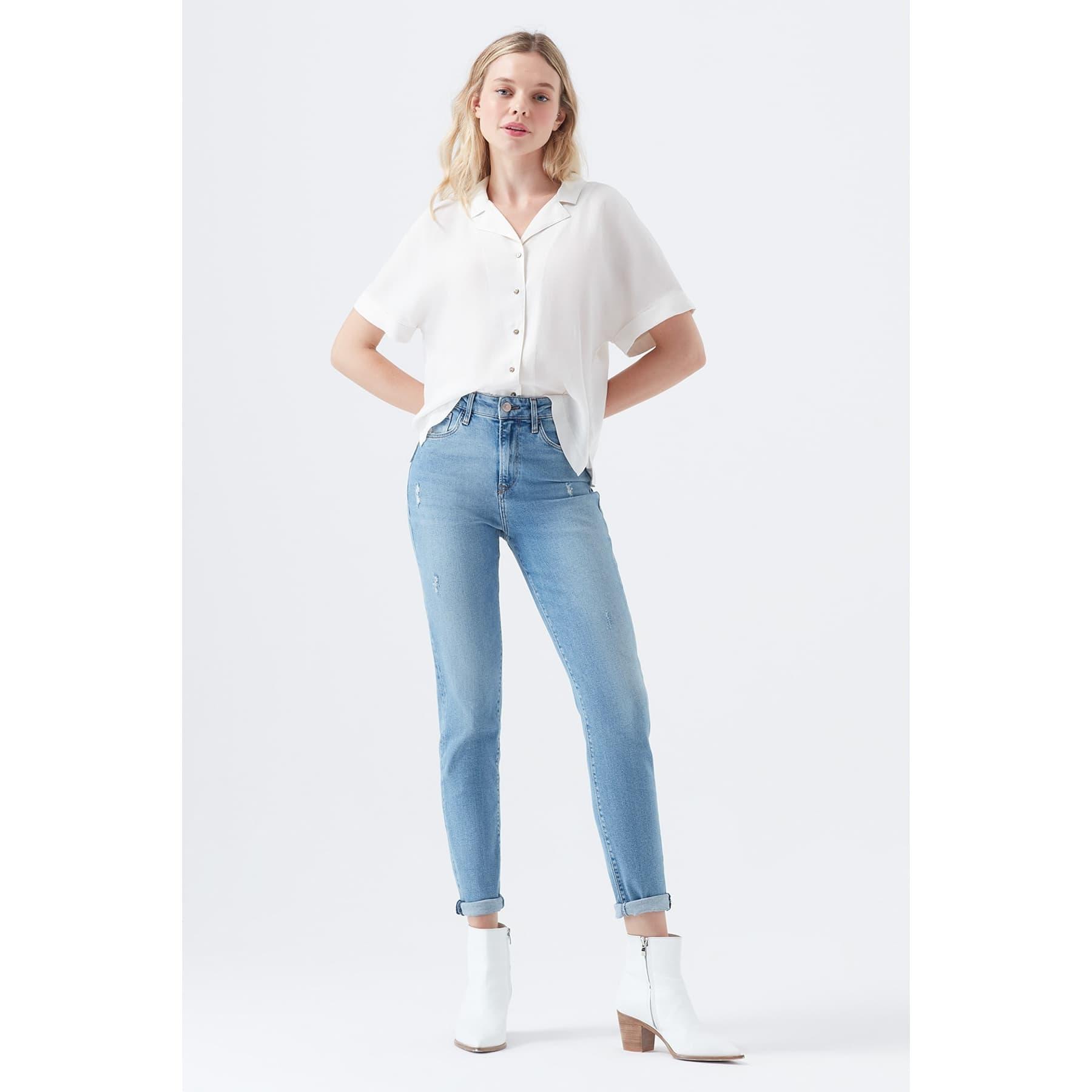 Cindy Vintage 90s Kadın Mavi Jean Pantolon