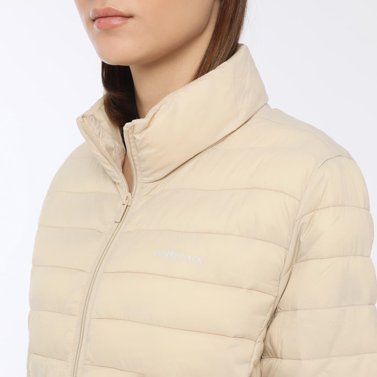 Basic Padded Coat Kadın Ekru Şişme Mont