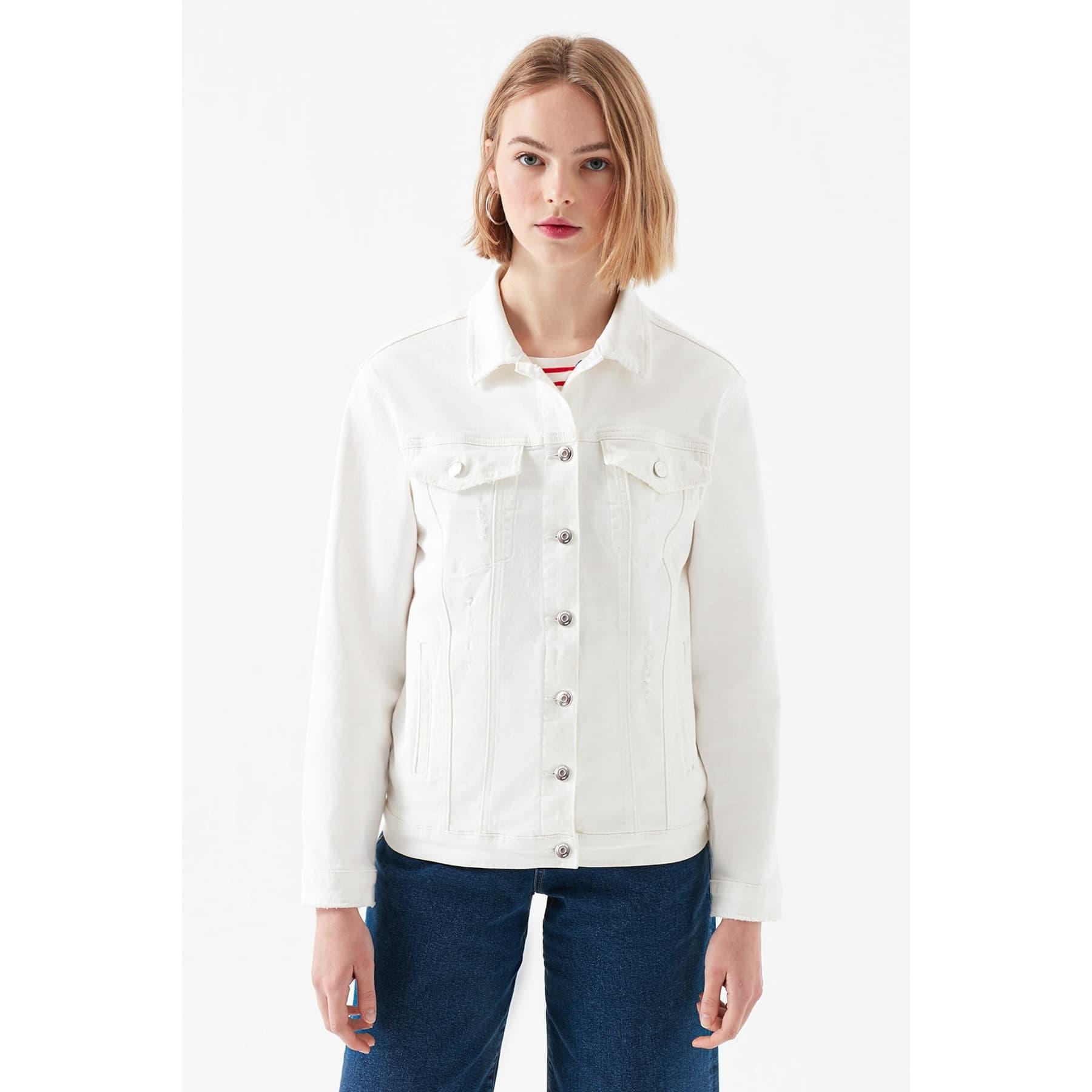 Karla Gold Icon Kadın Beyaz Jean Ceket