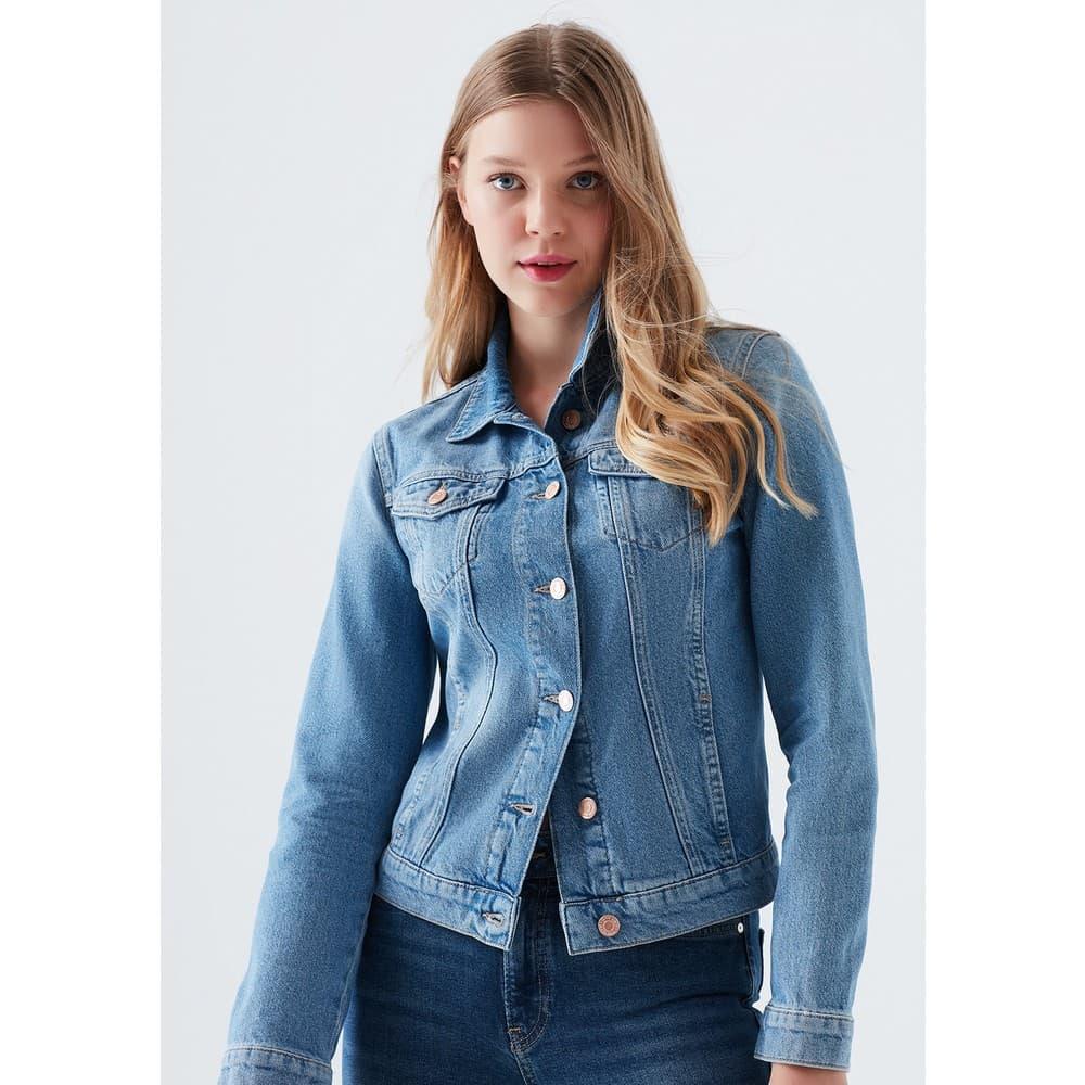 Daisy Mavi Eskitme Kadın Jean Ceket