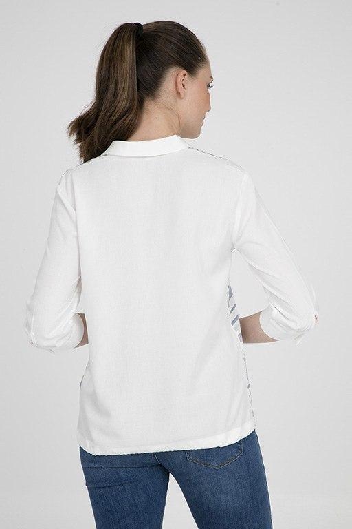 Çizgili Kadın Kırık Beyaz Bluz