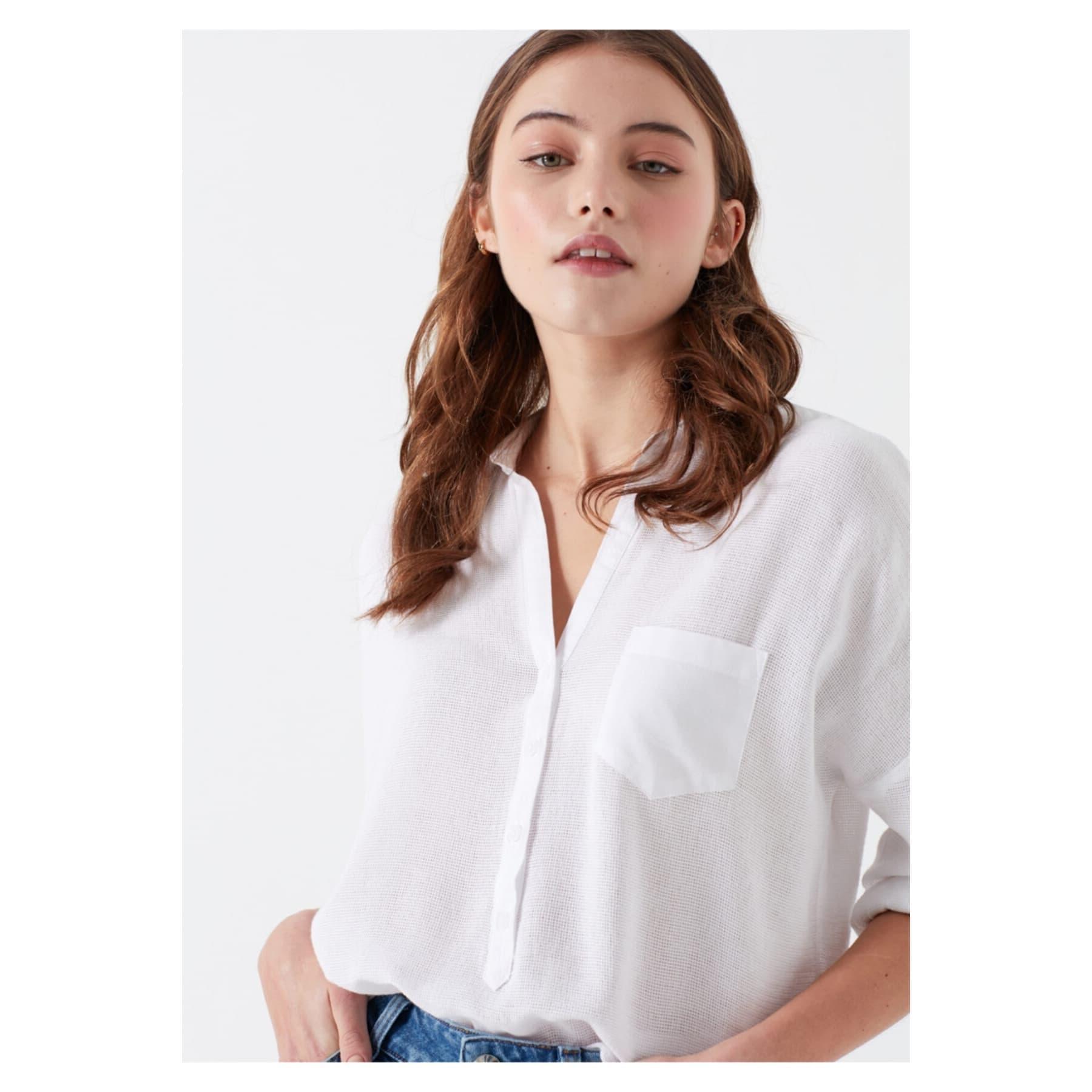 Kadın Cepli Bluz Antik Beyaz
