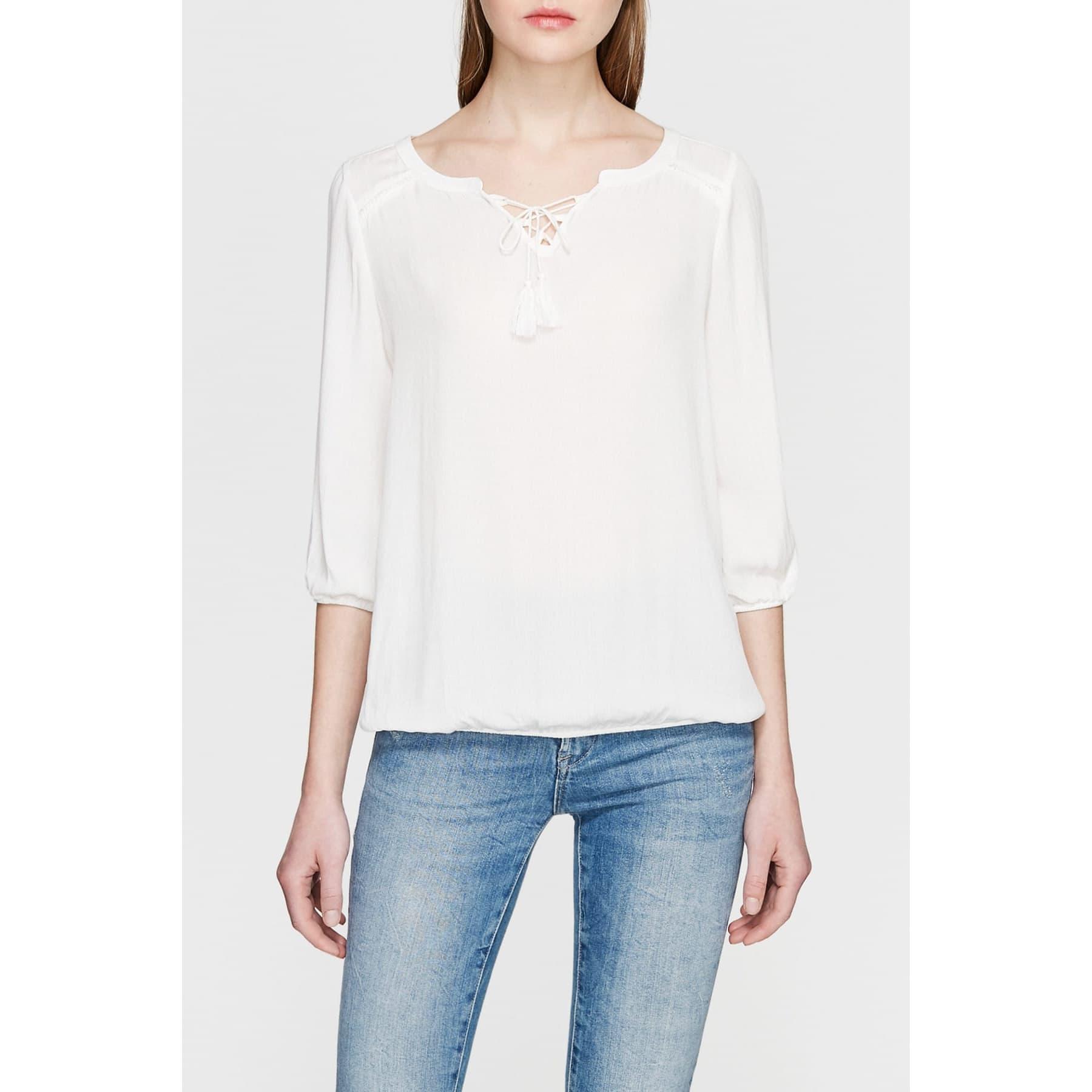 Kadın Bağcık Detaylı Beyaz Bluz