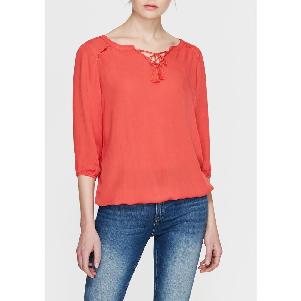 Kadın Bağcık Detaylı Kırmızı Bluz