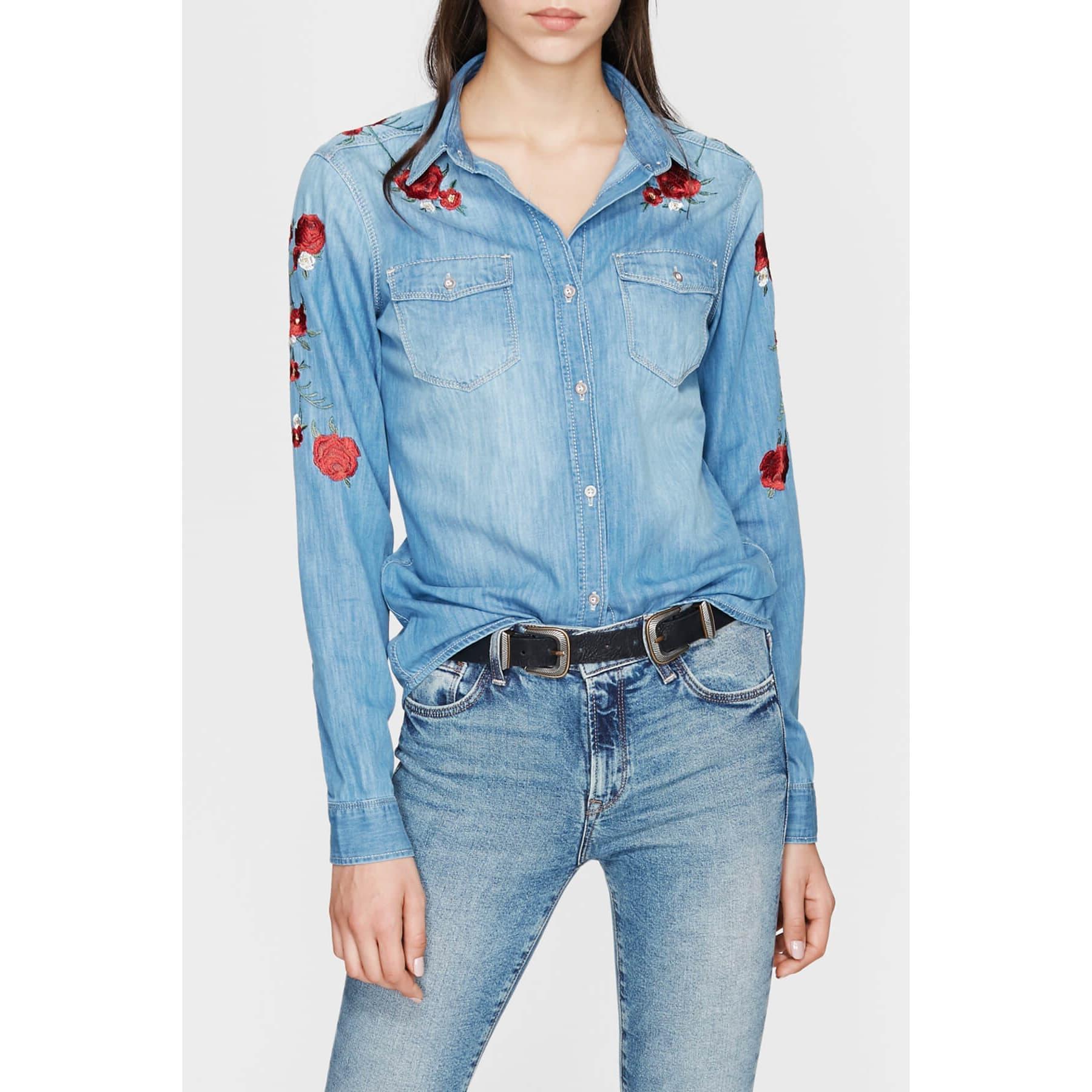 Mavi Jeans Kadın Çiçek Nakışlı Kot Gömlek