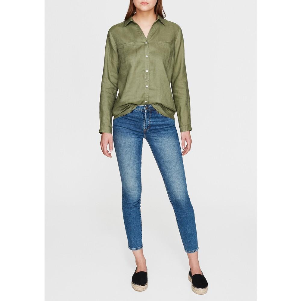 Cepli Kadın Yeşil Keten Gömlek