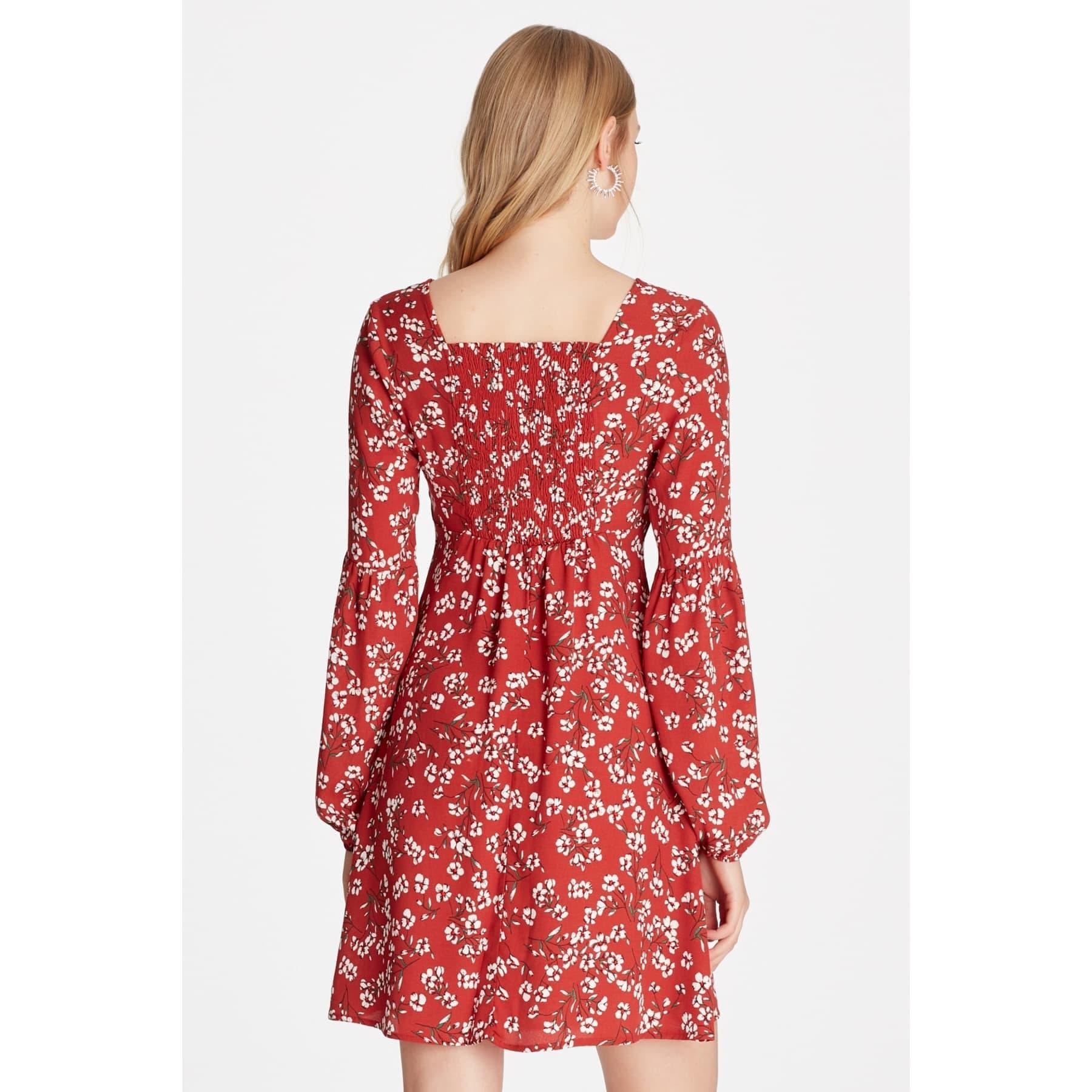 Kadın Çiçekli Kiremit Turuncu Elbise