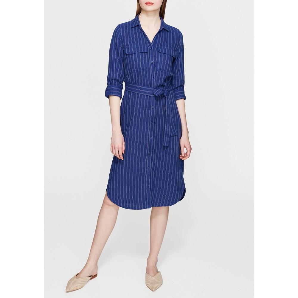 Kadın Cepli Çizgili Lacivert Elbise