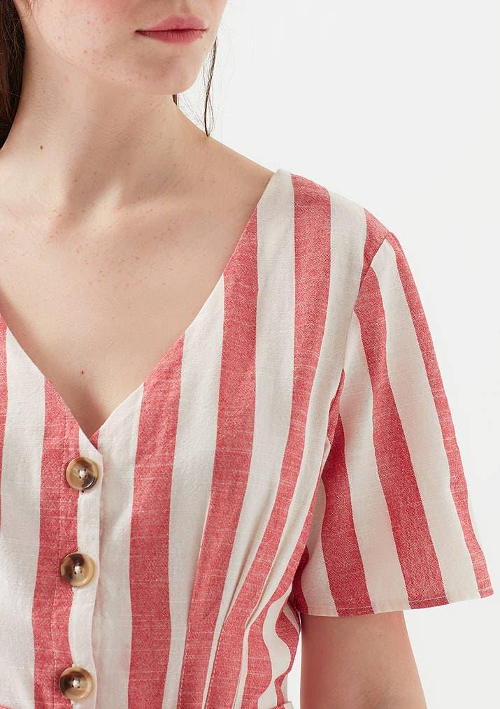 V Yaka Düğme Detaylı Kadın Çizgili Elbise