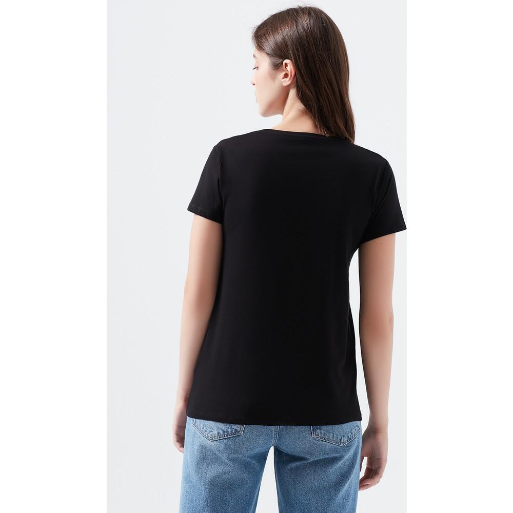 Mavi Jeans Mavi Baskılı Kadın Siyah Tişört