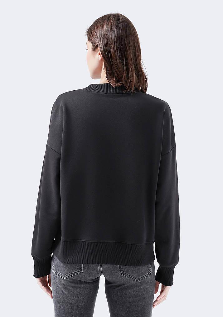 Mavi Jeans City Girl Nakışlı Kadın Siyah Sweatshirt