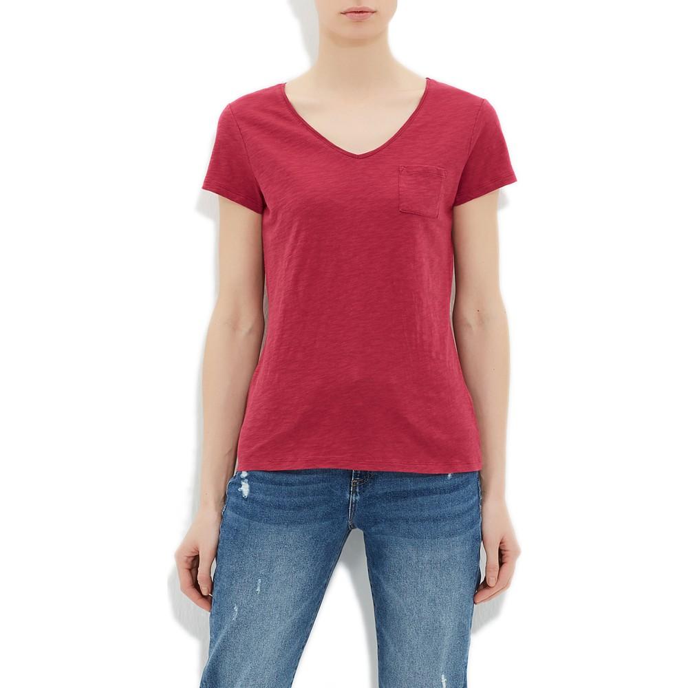 Mavi V Yaka Kadın Fuşya Basic Tişört
